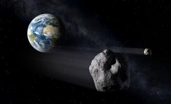 Изображение художника потенциально опасного околоземного астероида